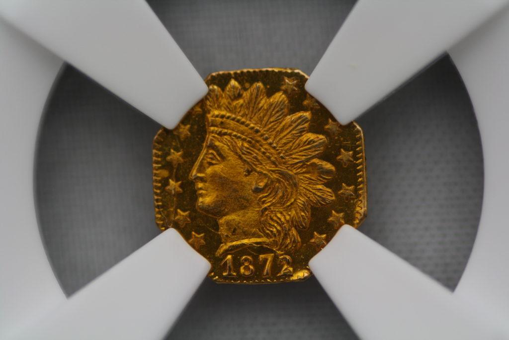 1872/1年 カリフォルニア フラクショナル インディアン 八角形 1/4 MS 65