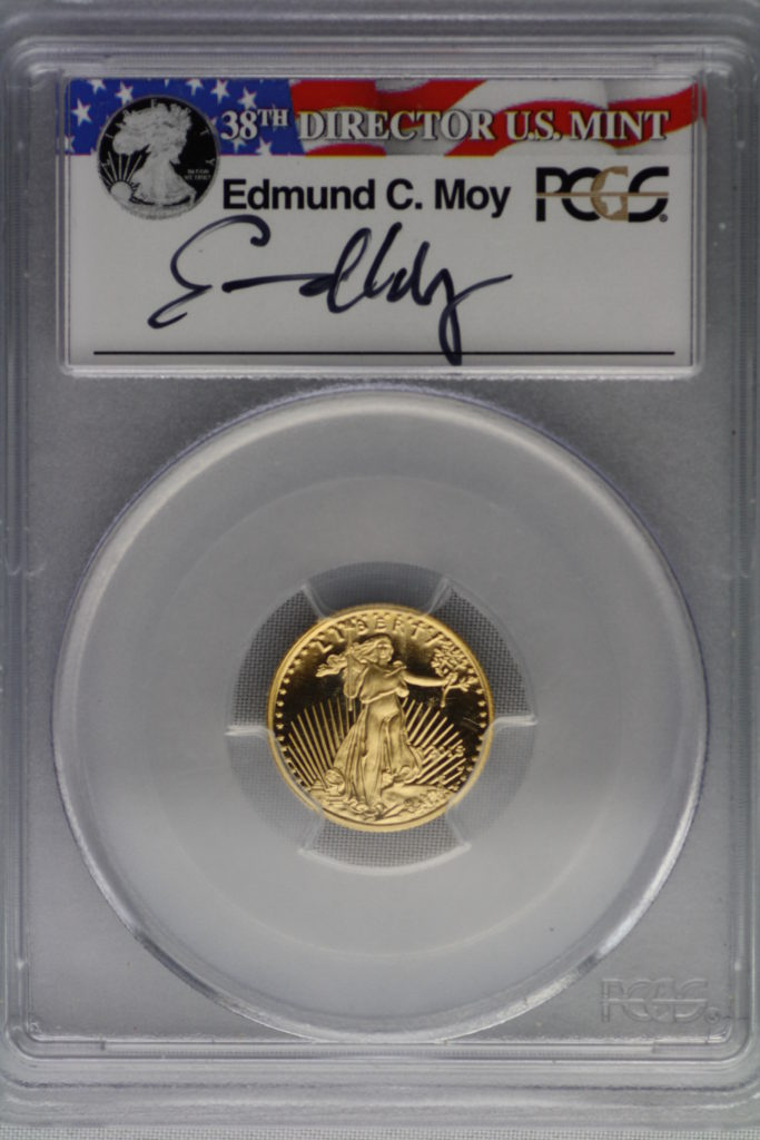 2015 W Gold Eagle $5 PR70DCAM Edmund C Moy signed First Day of Issue-Denver