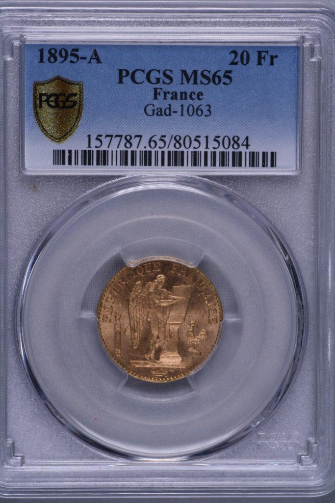 最高グレード MS65 フランス エンジェル 1895-A 20フラン 完全未使用品 FDC PCGS