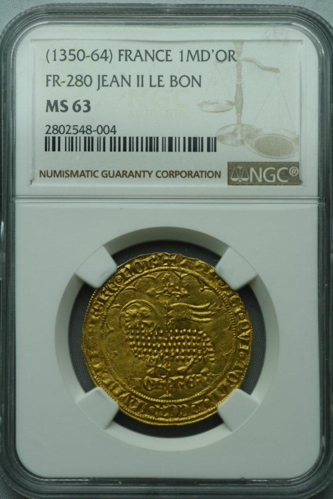フランス ジャン2世 金の羊 ムートンドール 金貨 NGC MS63