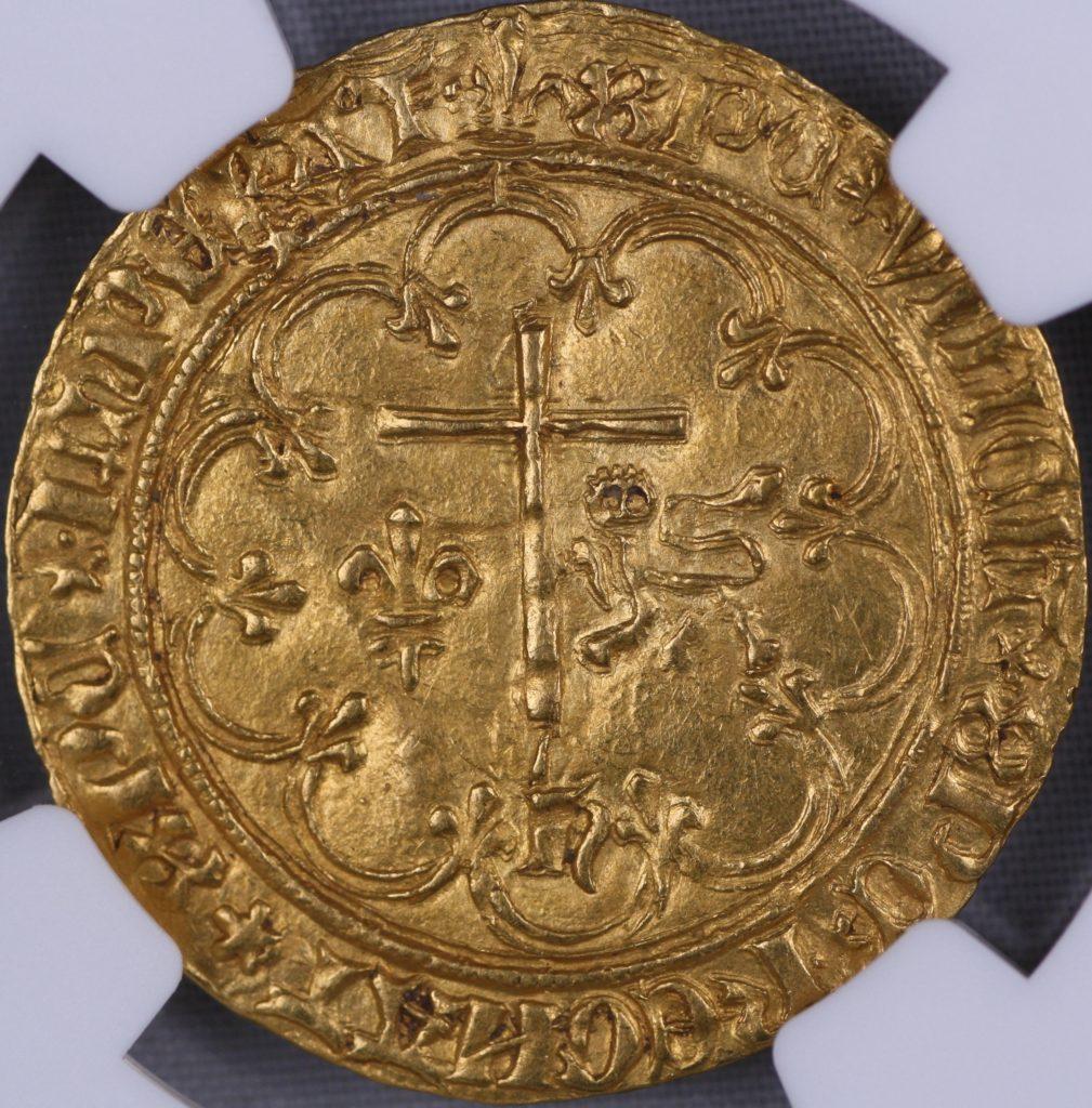 一点モノ サリュー金貨 フランス ヘンリー6世(アンリ6世)(1422-1453) サン・ロー造幣所 独自刻印モノ スター刻印 MS63 NGC
