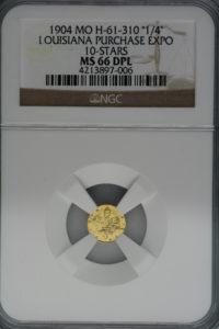 ★最高グレード 1904年 ルイジアナ パーチェス エキスポ 10スター 1/4 MS66 Deep Prooflike