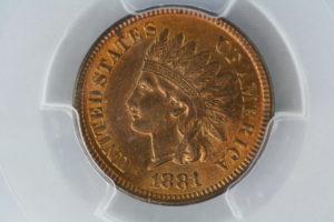 1881年 インディアン セント RARITY 7.8 1C PCGS MS65RB