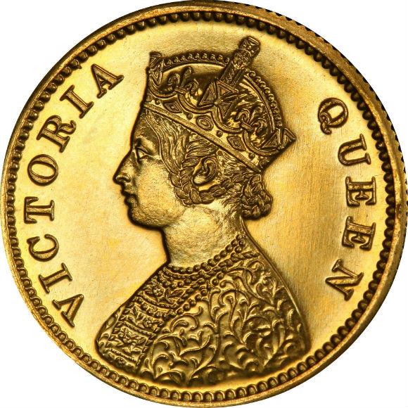 トップグレード 英領インド ヴィクトリア女王(ヤングバスト) PR64 PCGS 10ルピー金貨 1870年 RESTRIKE