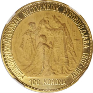 トップグレード フランツ・ヨーゼフ1世 100コロナ ハンガリー 戴冠40周年 1907年 金貨 PF65 NGC