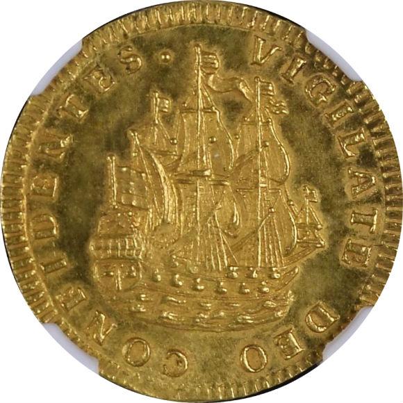 トップグレード オランダ(西フリースラント) 6シュトゥイヴァー 1724年 金貨 MS65★(スター) NGC