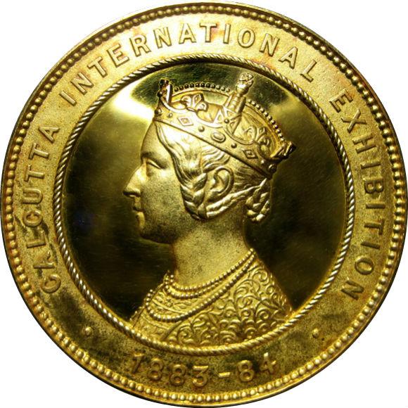 トップグレード インド(イギリス宗主国) カルカッタ国際博覧会 ヴィクトリア ゴールドメダル 1883年 MS63 NGC