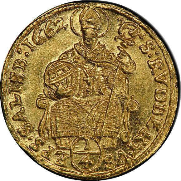 トップ2グレード ザルツブルク(オーストリア) グイドバルト大司教 1/4ダカット金貨 MS65 PCGS