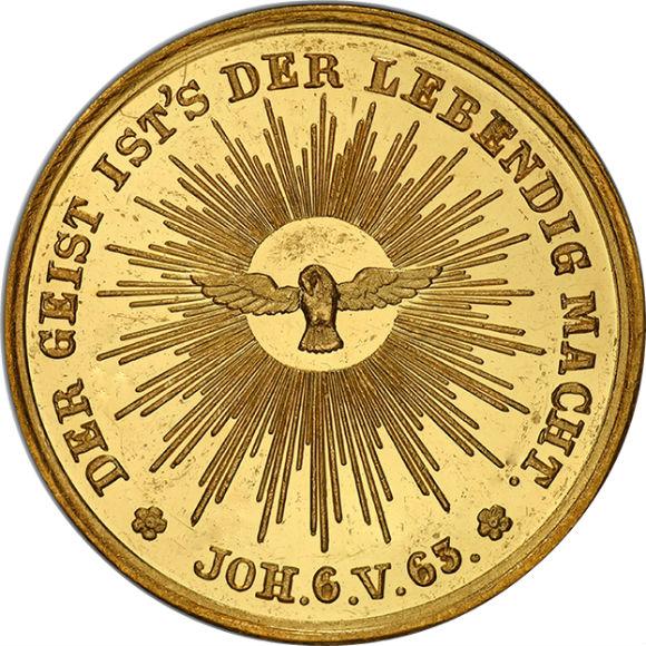 オンリーワングレード 金メダル 「レイ」デザインは買い アウクスブルクの和議 1555年 300年 1855年(推定) SP64 PCGS