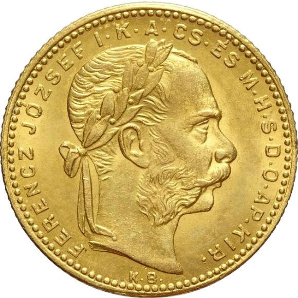 (入門)トップグレード ハンガリー 20フラン フランツ・ヨーゼフ1世 1881年 金貨 MS64 NGC