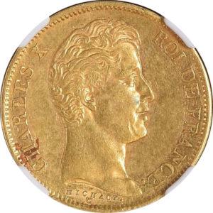 トップグレード フランス 40フラン マルセイユ鋳(レア) 1830年 金貨 AU58 NGC