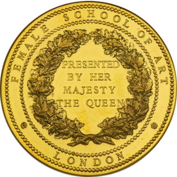 オンリーワングレード 王立女性美術学校 表彰金メダル ウィリアム・ワイオン刻印(ウナとライオン) 59.25g(17ダカット) 46mm 大型金メダル オリジナルケース付き MS62DPL NGC