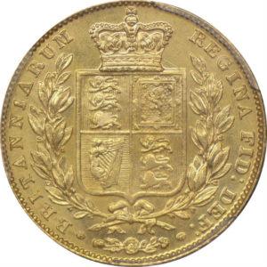トップグレード イギリス 1ソブリン ヴィクトリア ウィリアム・ワイオン(ウナ&ライオン) BROAD SHIELD 1843年 MS65 PCGS