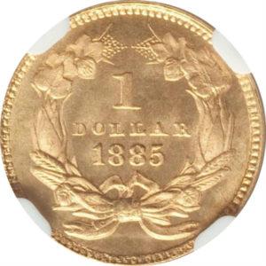 同列トップグレード 1ドル 金貨 インディアンヘッド(ラージ) タイプ3 アメリカ 1885年 MS68 NGC