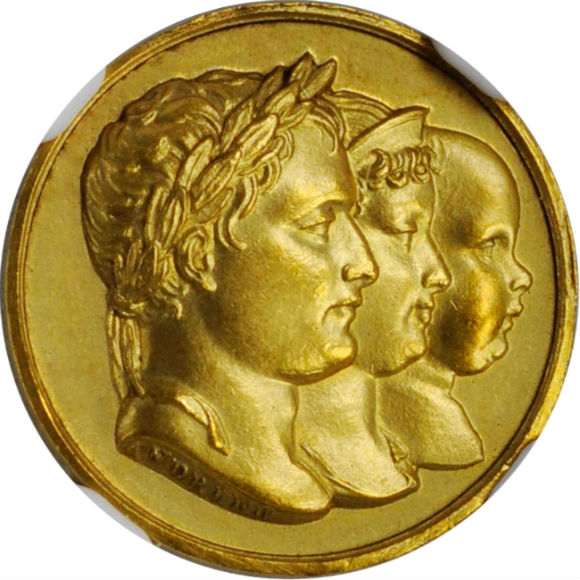オンリーワングレード ナポレオン1世 復位記念 1815年 エルバ島脱出 百日天下 フランス 金メダル MS64 NGC