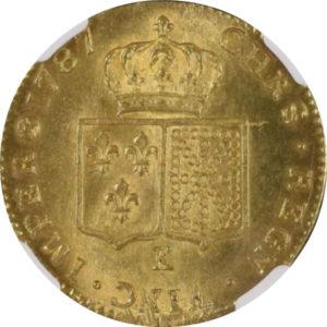 トップグレード ダブルルイドール(2ルイドール) ルイ16世 フランス革命 最後の君主 ボルドー 153年でトップ5 1787年 MS65+ NGC