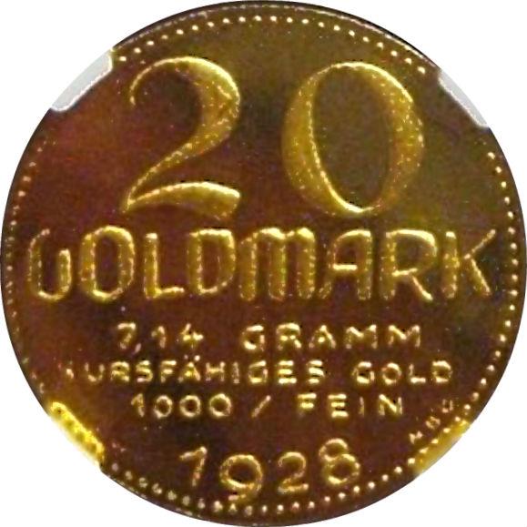 オンリーワングレード ニュルンベルク 都市景観 20マルク ヨーゼフ・ヴィルト K24 純金 1928年 プルーフライク MS67PL NGC