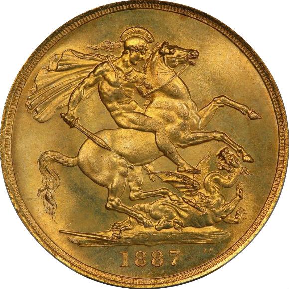 トップグレード イギリス 2ソブリン ヴィクトリア ジュビリーヘッド 在位50年記念 1887年 MS66 PCGS