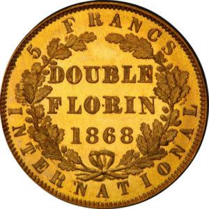 オンリーワングレード 試鋳貨 イギリス ダブルフローリン/5フラン ヤングヴィクトリア ウィリアム・ワイオン 国際通貨会議 1868年 ディープカメオ PR65DCAM PCGS