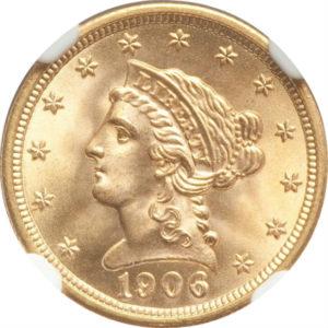 トップグレード(同列) 2.5ドル 金貨 トップグレードの上乗せクオリティ「空前絶後品」 クォーターイーグル リバティーヘッド 1906年 MS68 NGC