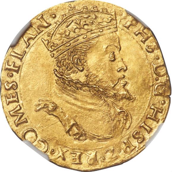 オンリーワングレード レアル金貨 フランドル(ベルギー) フェリペ2世 スペイン・ハプスブルク家全盛期の国王 MS62 NGC