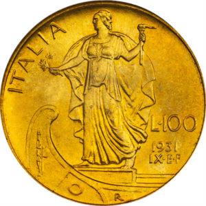 トップグレード(同列) ヴィットリオ・エマヌエーレ3世 100リラ 1931年 金貨 MS66 NGC