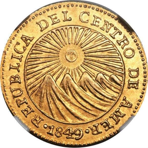 トップグレード(同列) 1エスクード金貨 コスタリカ 中央アメリカ連邦共和国 「太陽が光を放つ」デザインは買い 1849年 MS63 NGC