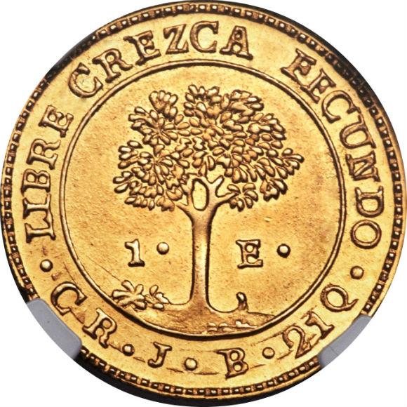 トップグレード(同列) 1エスクード金貨 コスタリカ 中央アメリカ連邦 ...