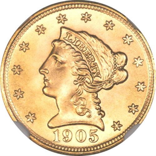 トップグレード(同列) 2.5ドル 金貨 トップグレードの上乗せクオリティ「空前絶後品」 クォーターイーグル リバティーヘッド 1905年 MS68 NGC