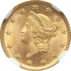 トップグレード(同列) 1ドル 金貨 アメリカ リバティーヘッド タイプ1( 初期) 1854年 MS67 NGC