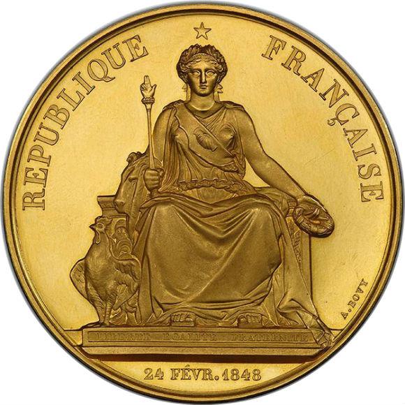 オンリーワングレード パリ産業博覧会(フランス) 未受賞者メダル 自由の女神(マリアンヌ) 1849年 ゴールド 0.139キログラム 40ダカット 大型スラブ オリジナルケース付き SP63 PCGS