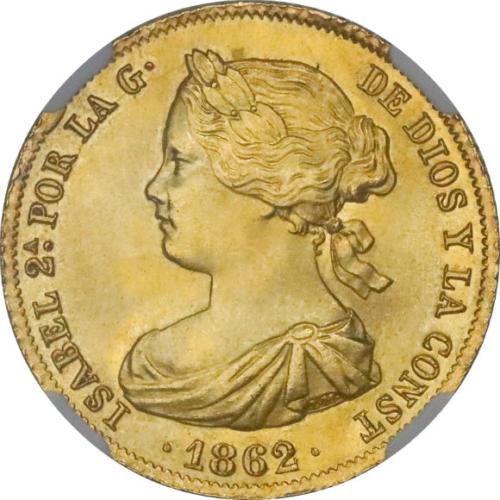 トップグレード(同列) 100レアル金貨 イサベル2世 スペイン唯一の女王 マドリード 100レアル全体で2位 1862年 MS66 NGC