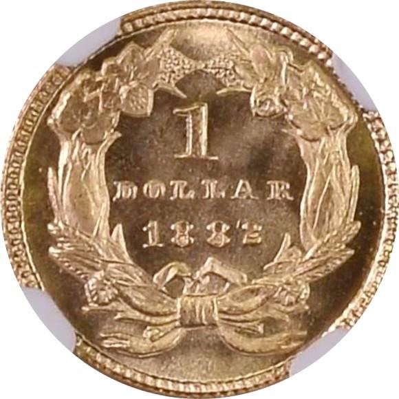 サードグレード(同列) 1ドル金貨 アメリカ インディアンプリンセス(ラージヘッド) タイプ3(後期) 1882年 MS68 NGC