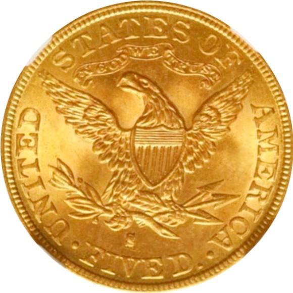トップ3グレード(同列) 5ドル金貨 リバティーヘッド アメリカ 1893年 サンフランシスコ モットーあり タイプ2 割安感あるバラエティー MS65 NGC
