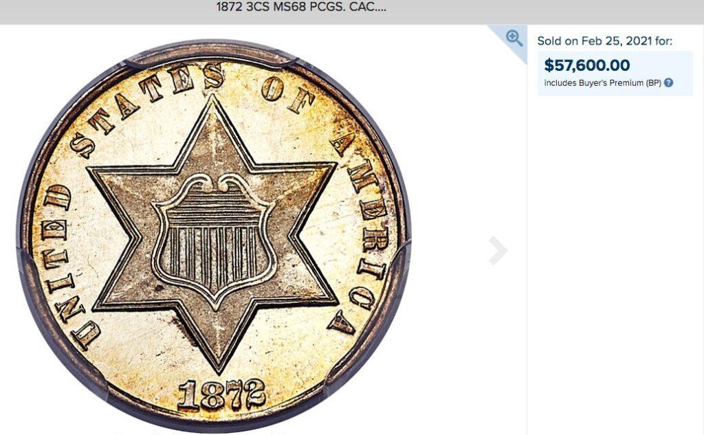 トップグレード(単独) 3セント アメリカ シルバー 1867年 含み益もりもり プルーフ PR67+ PCGS