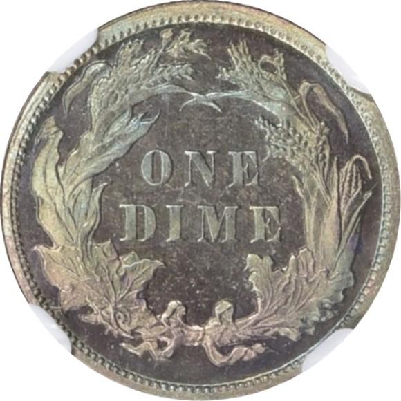 トップグレード(同列) 10セント銀貨 ダイム アメリカ グレード68はなんて空前絶後 プルーフ 1,100のみ発行 1879年 PF68 NGC