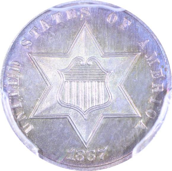 トップグレード(PCGS/同列) 3セント アメリカ シルバー 1867年 含み益もりもり プルーフ PR67+ PCGS