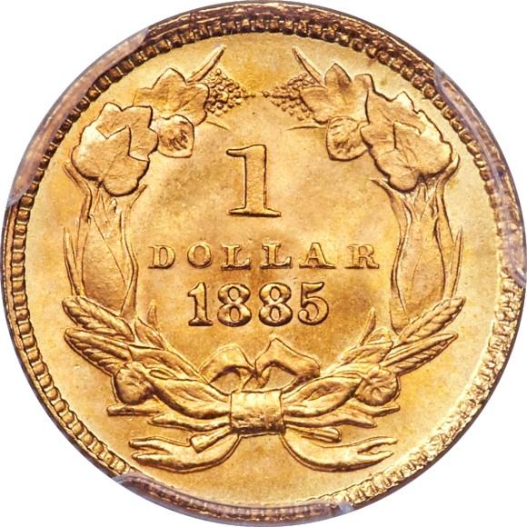 トップグレード(同列) 1ドル金貨 アメリカ 「空前絶後品」 インディアンプリンセス ラージヘッド タイプ3 1885年 MS68 PCGS