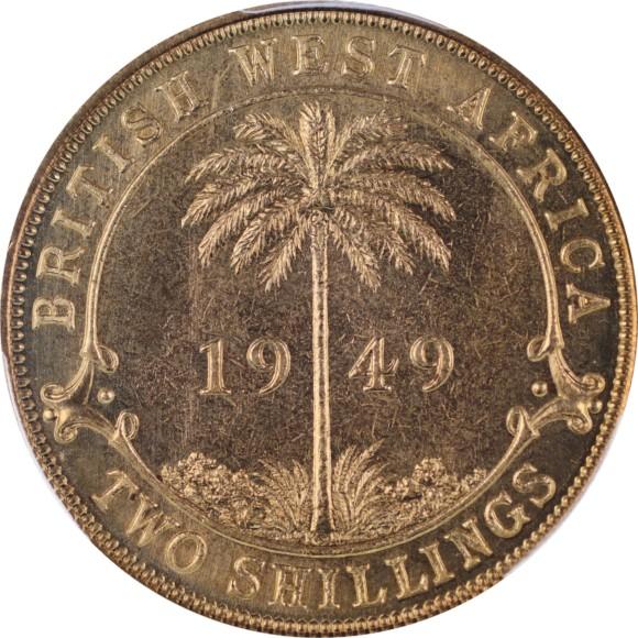 トップグレード(同列) 2シリング イギリス領西アフリカ ニッケル/真鍮 SPECIMEN 1949年 SP66 PCGS