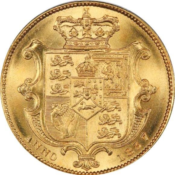 トップグレード(同列) ウィリアム4世 1ソブリン金貨 イギリス ウィリアム・ワイオン(ウナ&ライオン) 1837年 MS65 PCGS