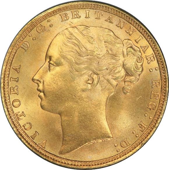 トップ2グレード(同列) 1ソブリン金貨 ヤングヴィクトリア セントジョージの竜退治 イギリス ウィリアム・ワイオン(ウナ&ライオン) 1872年 MS65 PCGS