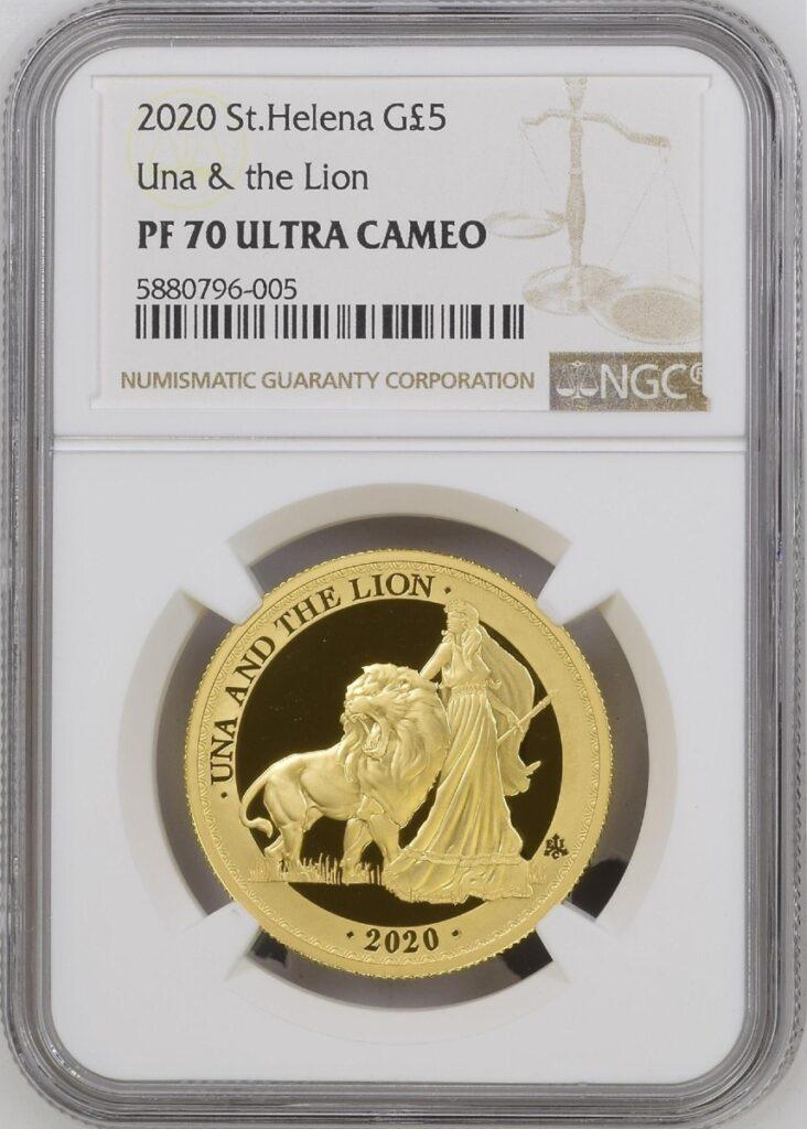 トップグレード ウナ&ライオン 2020年 イギリス領セントヘレナ 1オンス 5ポンド金貨 ウルトラカメオ PF70 NGC