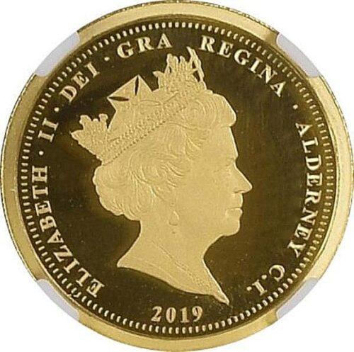トップグレード(同列) ウナ&ライオン 1/2ソブリン金貨 ヴィクトリア女王生誕200年 イギリス領オルダニー島 2019年 ウルトラカメオ PF70 NGC