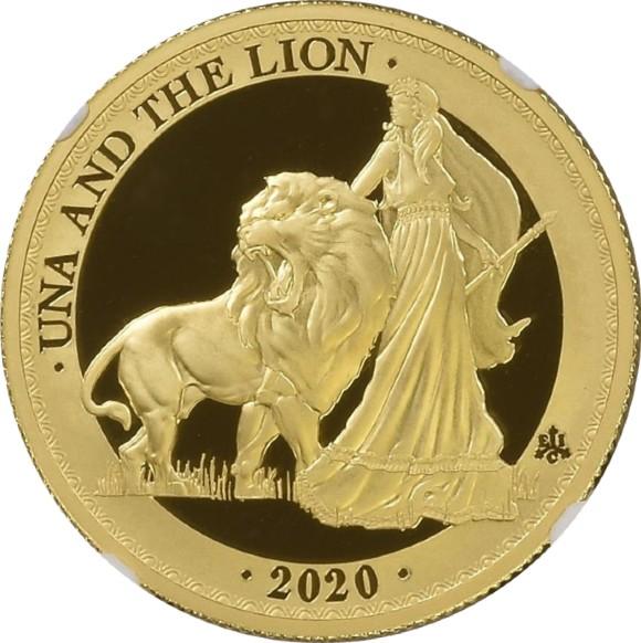 ウナ&ライオン トップGでなくても値ごろ感のある数量限定ブリオン金貨 イギリス領セントヘレナ 2020年 1オンス 5ポンド金貨 ウルトラカメオ PF69 NGC