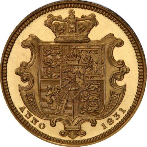 トップ2グレード(同列) ウィリアム4世 ハーフソブリン金貨 イギリス ウィリアム・ワイオン(ウナ&ライオン) 1831年 プルーフ ディープカメオ PR64+DCAM PCGS