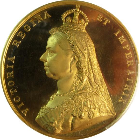 トップ2グレード(同列) ヴィクトリア イギリス 戴冠50年記念 大型ゴールドメダル 944点のみ発行 1887年 スペシメン SP63 PCGS